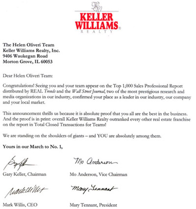 Helen in the news chicagoland real estate the helen for Short sale marketing letter